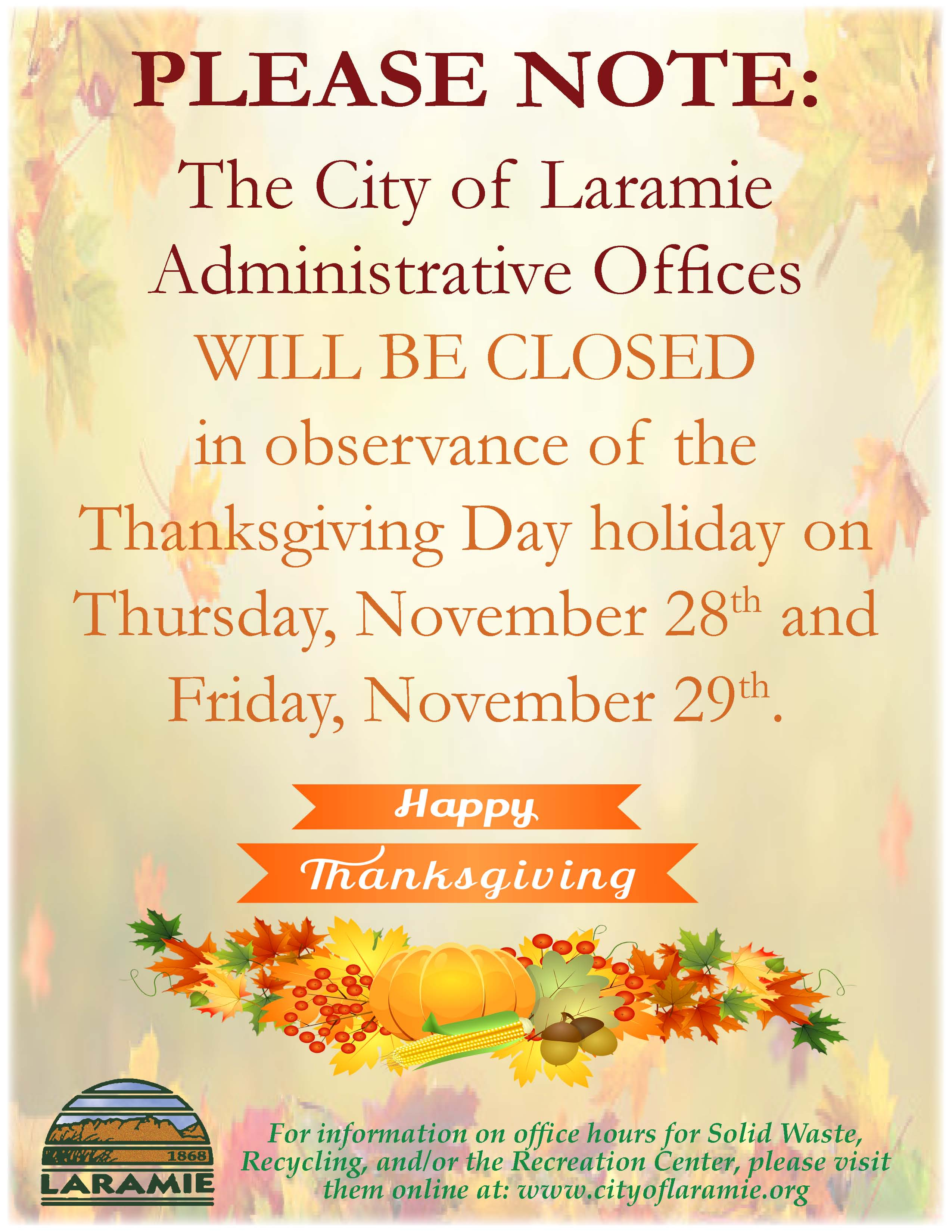 Administrative Office Closure Notice--Thanksgiving Day--November 2019--Portrait
