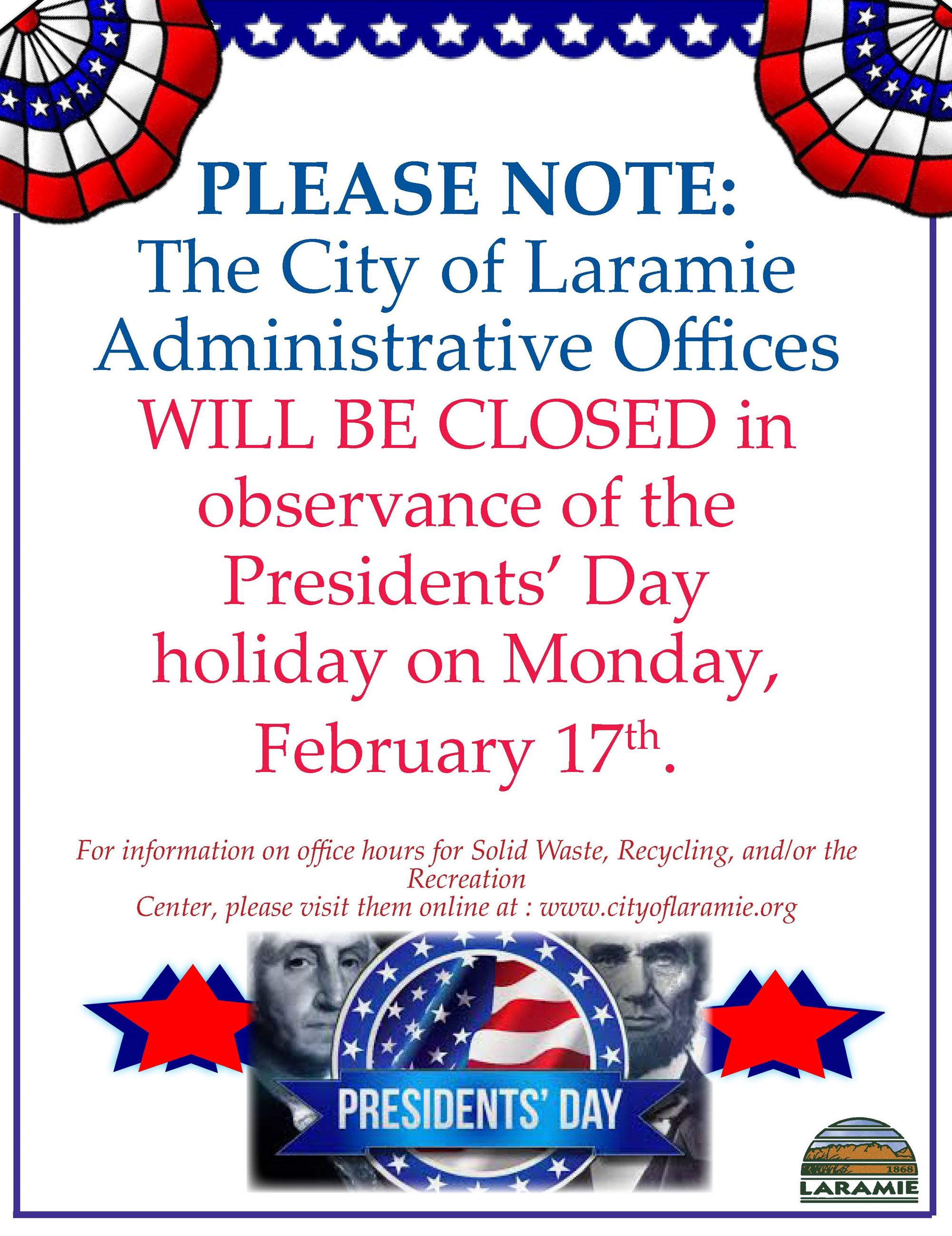 Administrative Office Closure Notice--Presidents Day--February