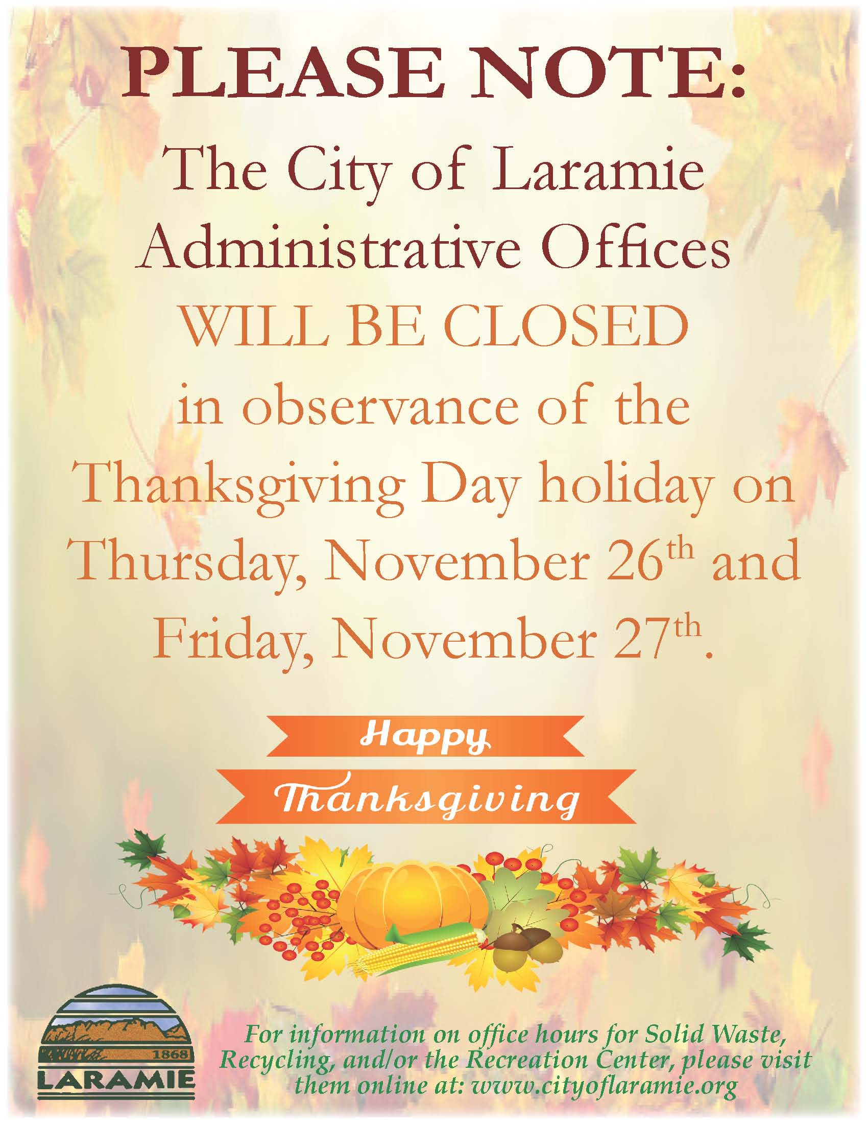 Administrative Office Closure Notice--Thanksgiving Day--November 2020--Portrait